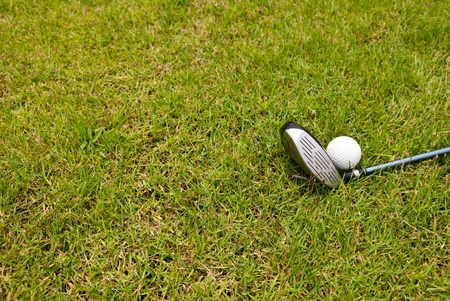 Golf ball and golf club sitting in green grass  Stock Photo - 13336319