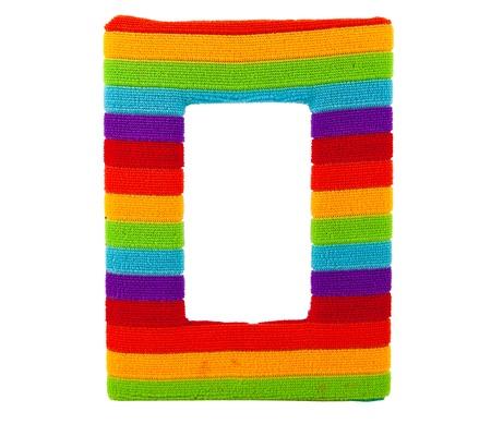 Rainbow photo frame isolated on white background photo