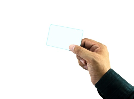 Hand holding white empty name card  Stock Photo - 13584957