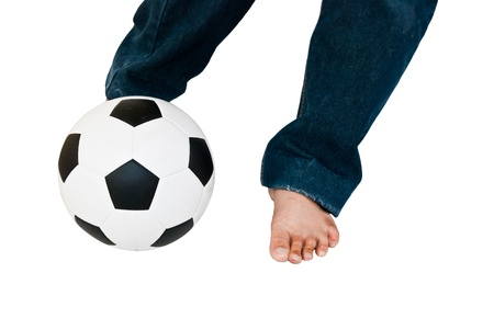 Man wear blue jeans playing football isolated on white  photo