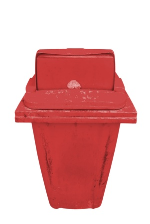 Red recycling bin isolated on white  photo