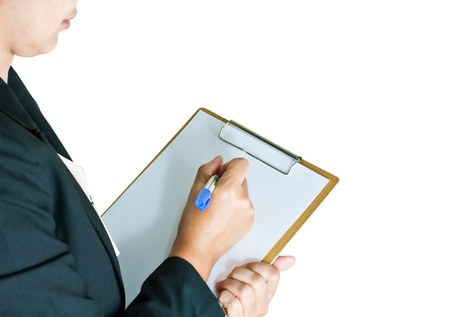 Business woman taking note on clipboard photo