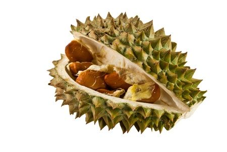 segment: Segment of Durian fruit with seeds Stock Photo