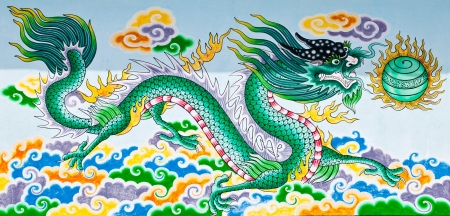 Dragon on wall in Chinese temple  photo