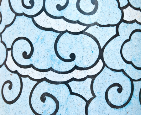 Cloud painting wall in Chinese temple photo