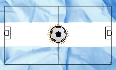 Soccer field layout on realistic Argentina flag background Stock Photo - 13643567