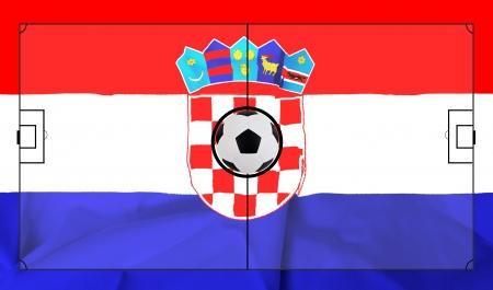 bandiera croazia: Layout dei campi di calcio su sfondo realistico bandiera Croazia