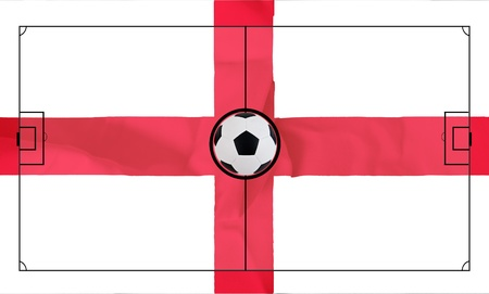 Soccer field layout on realistic England flag background Stock Photo - 13643525