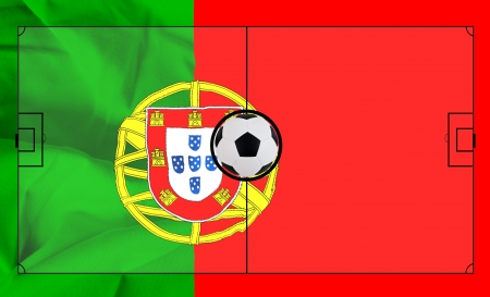 Soccer field layout on realistic Portugal flag background photo