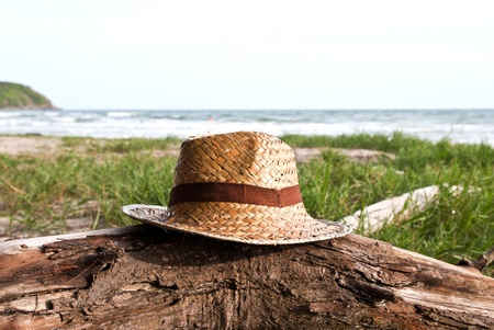 Straw hat over the timber on the beach Stock Photo - 13754024