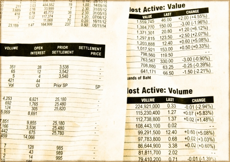 news values: Vintage paper of stock market prices