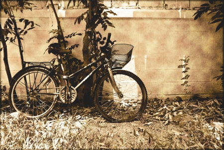 Vintage of old bicycle and brick wall  photo