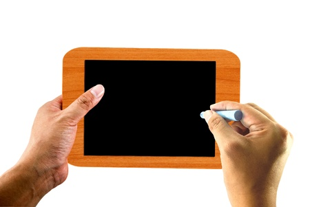 Hand writing on blank blackboard photo