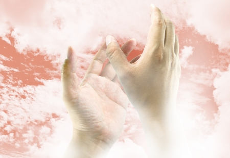 healing touch: Hands reaching to the sky, the image ideas for spiritual concept