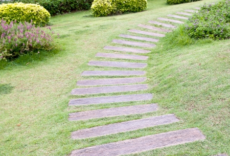 Close up of stone block walk path in the park with green grass background photo