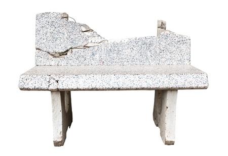 Broken stone seat isolated on white