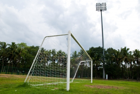 winning pitch: Soccer or football goals  Stock Photo