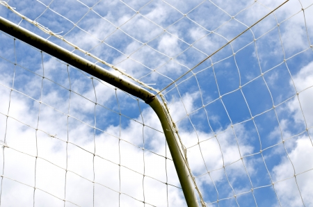 soccer net: Soccer net with on blue sky background  Stock Photo
