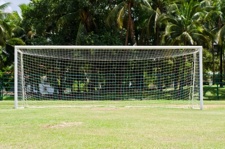 camping pitch: Soccer or football goals  Stock Photo
