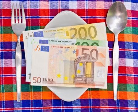 Euro money on dish Stock Photo - 15419441