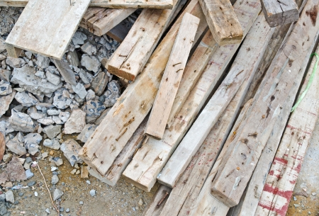 Pile of old used timber in construction site Stock Photo - 17343978