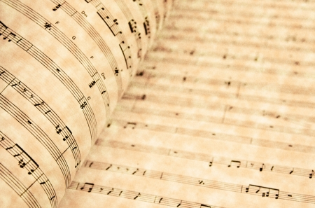 hymn: Music notes on old paper sheet  Stock Photo