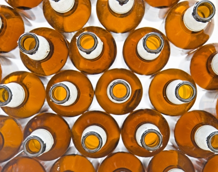 Top view of beer bottles