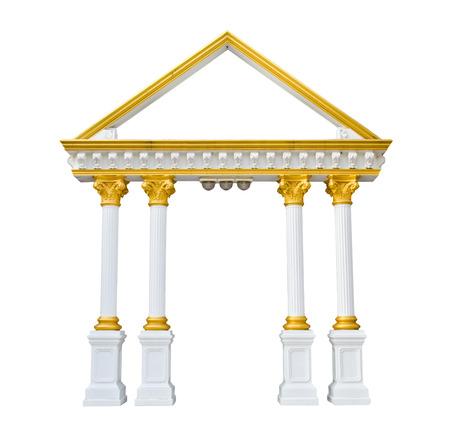 Roman columns gate isolated on white Stock Photo