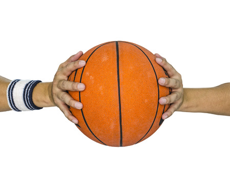 basketball ball: Basketball ball in hands isolated over white