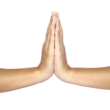 Hands hold hands together is symbol prayer and gratitude ,Hello and thank in Thai position