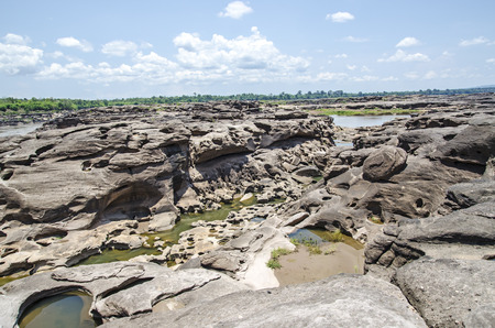 khong river: Sam Pan Boak, is known as the Grand Canyon of Thailand and has the biggest rock reef in the Mae Khong River, Ubon Ratchathani, Thailand.