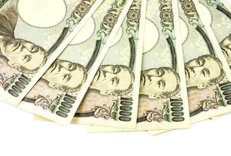 yen note: Japanese bank note - 10,000 Yen notes Stock Photo
