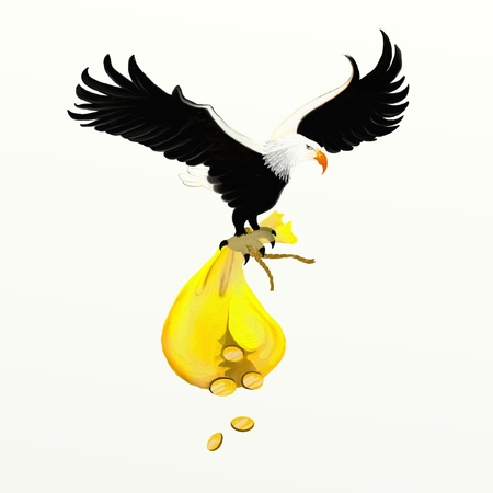 lucky bag: Eagle and Money bag with cash gold coin Stock Photo