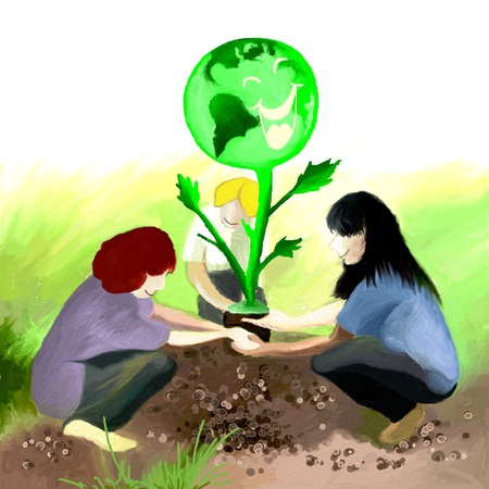 work environment: Three Teens, planting an Earth Tree in a field