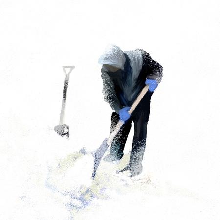冬に歩道から男シャベルの雪