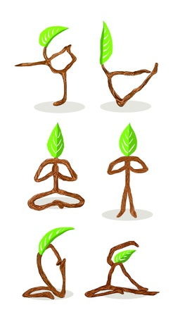 cartoon yoga: Tree cartoon of Hand Drawn Style Yoga Position  Stock Photo