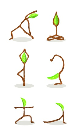 tree position: Tree cartoon of Hand Drawn Style Yoga Position 2