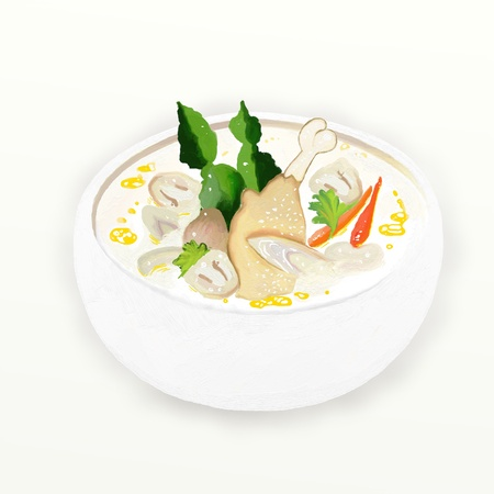 Tom Kha Gai or Thai Chicken Cream Soup is a famous thai spicy soup  photo