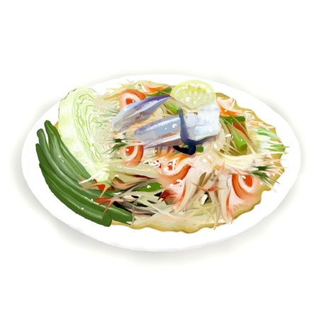 green papaya salad, Traditional Thai cuisine hot and spicy but very delicious  Som Tam Boo   photo