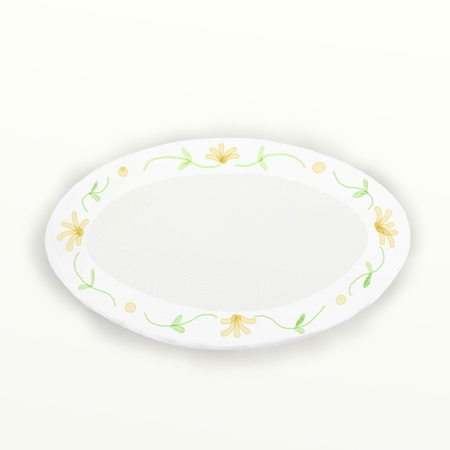 delftware: Ceramic dish   yellow floral pattern on white background