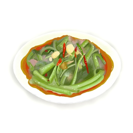soy bean: Stir Fried Morning Glory  Pad Pak Boong  is a healthy and flavoursome dish in Asian Restaurant  Stock Photo