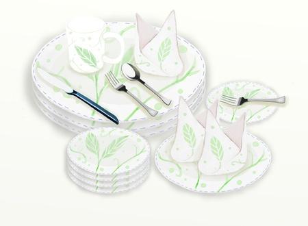 delftware: Ceramic Dishware Set   leaf pattern on white background Stock Photo