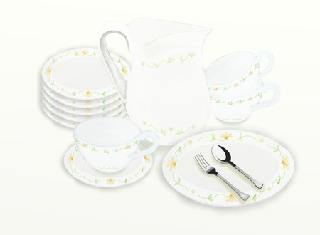 Teapots and tea accessories with floral pattern for Tea Party photo