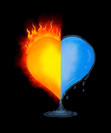 burning heart: Melting heart with love on black background Melting heart with love and The heat of love can melt even a heart of ice