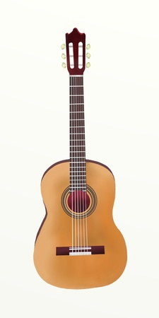Hand Drawing of Single Classical Guitar on White Background photo