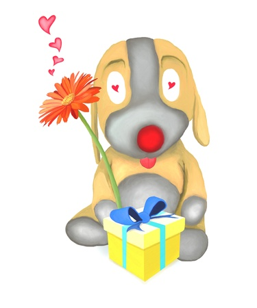 Brown Dog Doll Falling in Love, Holding Flower and Gift Box photo