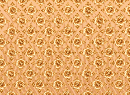 Golden Flower of Damask Seamless Pattern with Light Brown Background Textures photo