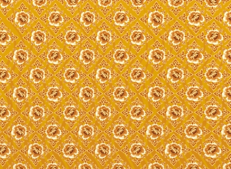 Golden Flower of Damask Seamless Pattern with Yellow Background Textures photo