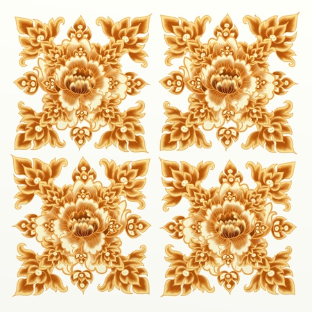 Golden Flower Pattern of Damask Seamless Style  photo