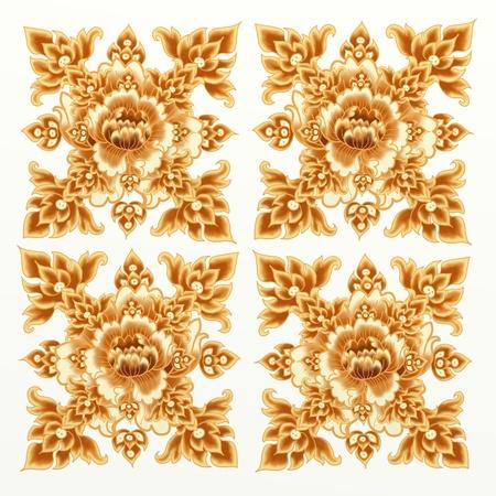 Golden Flower Pattern of Damask Seamless Style Stock Photo - 14508210